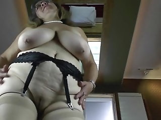 Old granny with big saggy tits and hungry cunt mature